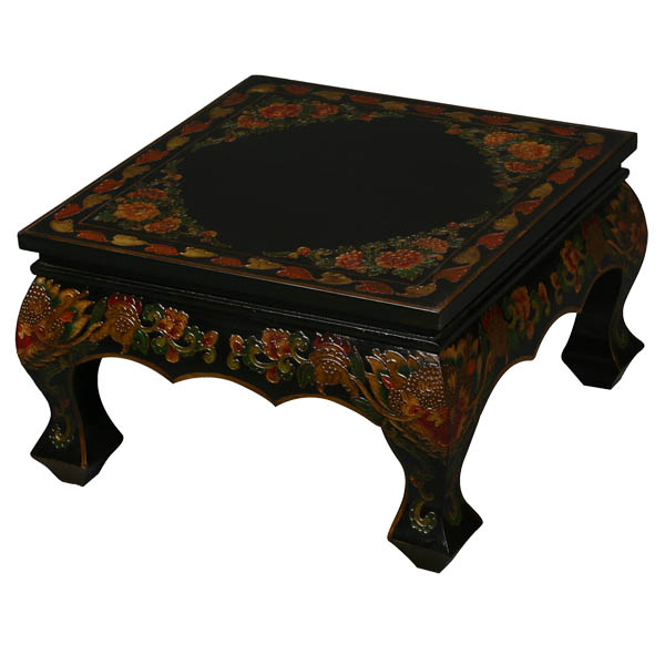 Black Tibetan Hand Painted Accent Coffee Table