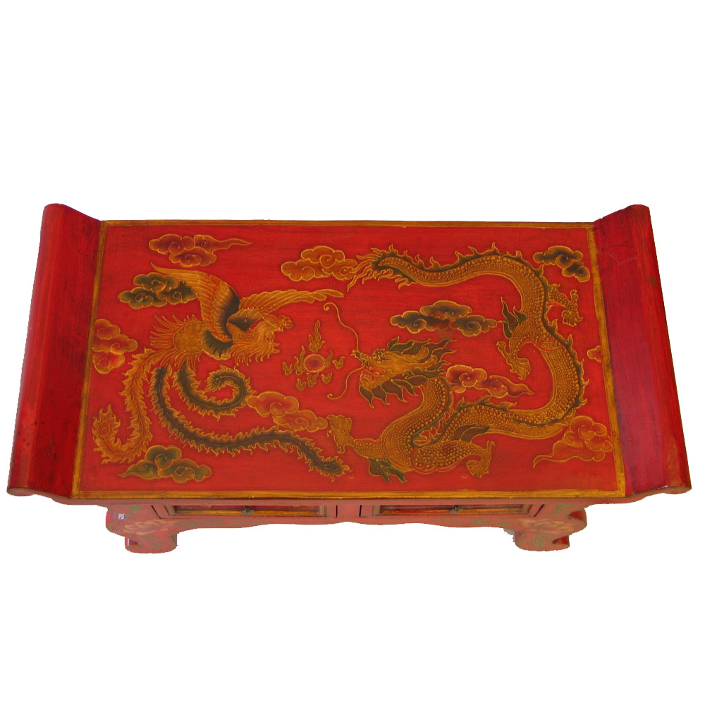 red tibetan hand-painted dragon coffee table