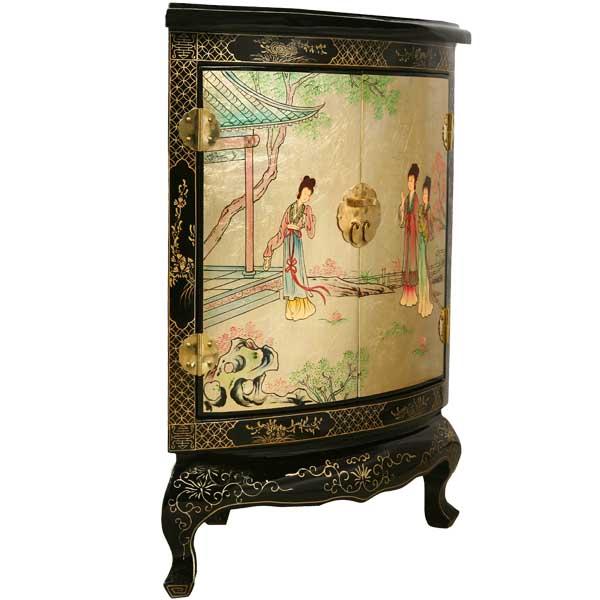 Black & Gold Lacquer Asian Corner Cabinet