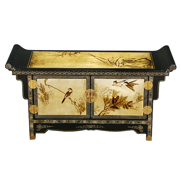 Black Gold Lacquer Pagoda Style Coffee Table