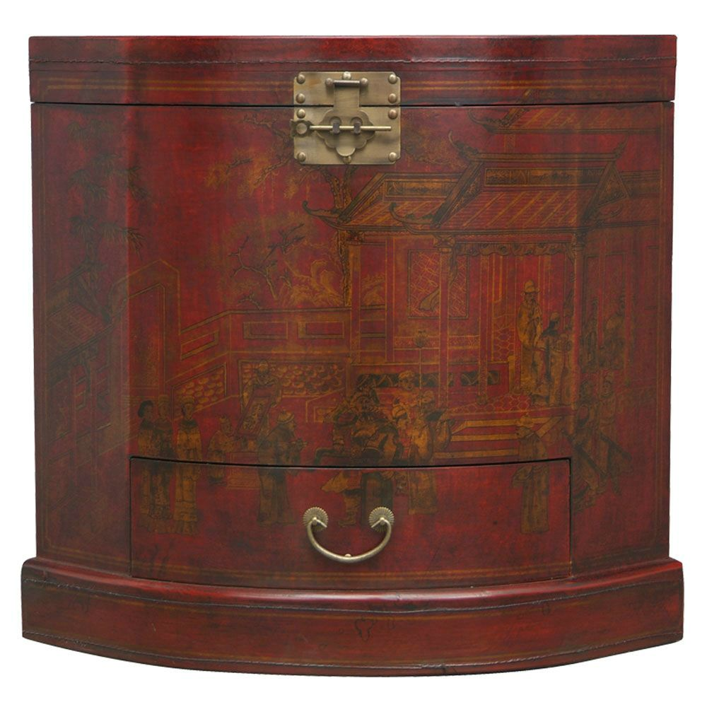 Red Leather Haind-painted Oriental Corner Cabinet