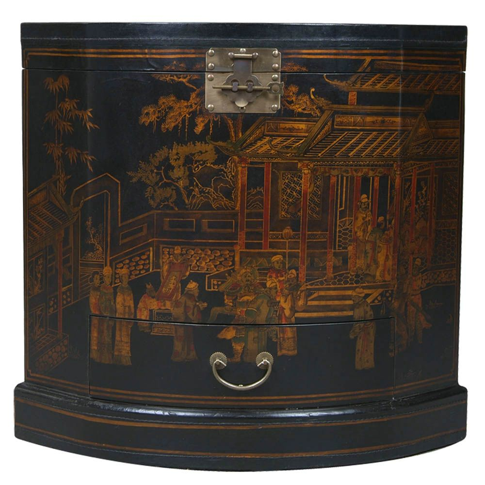 Black Leather Haind-painted Oriental Corner Cabinet