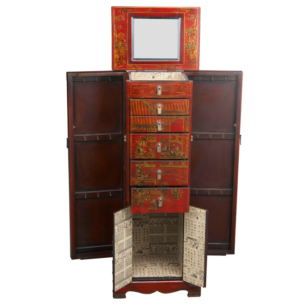 red leather hand painted oriental jewelry armoire