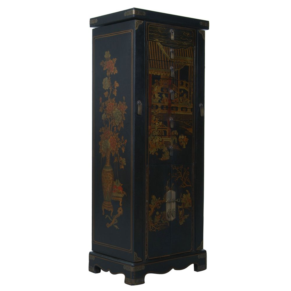 Black Leather Hand Painted Oriental Jewelry Armoire