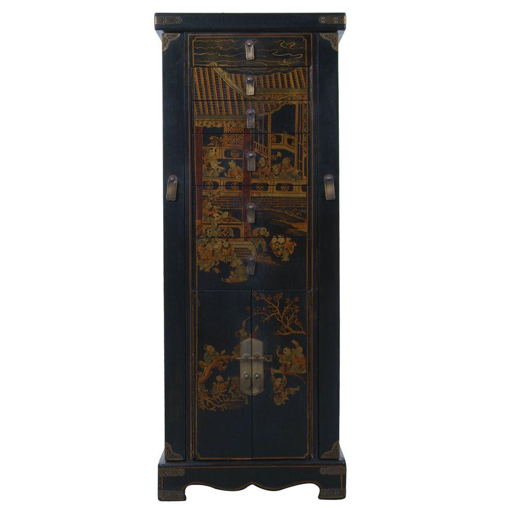 Black Leather Handpainted Oriental Jewelry Armoire