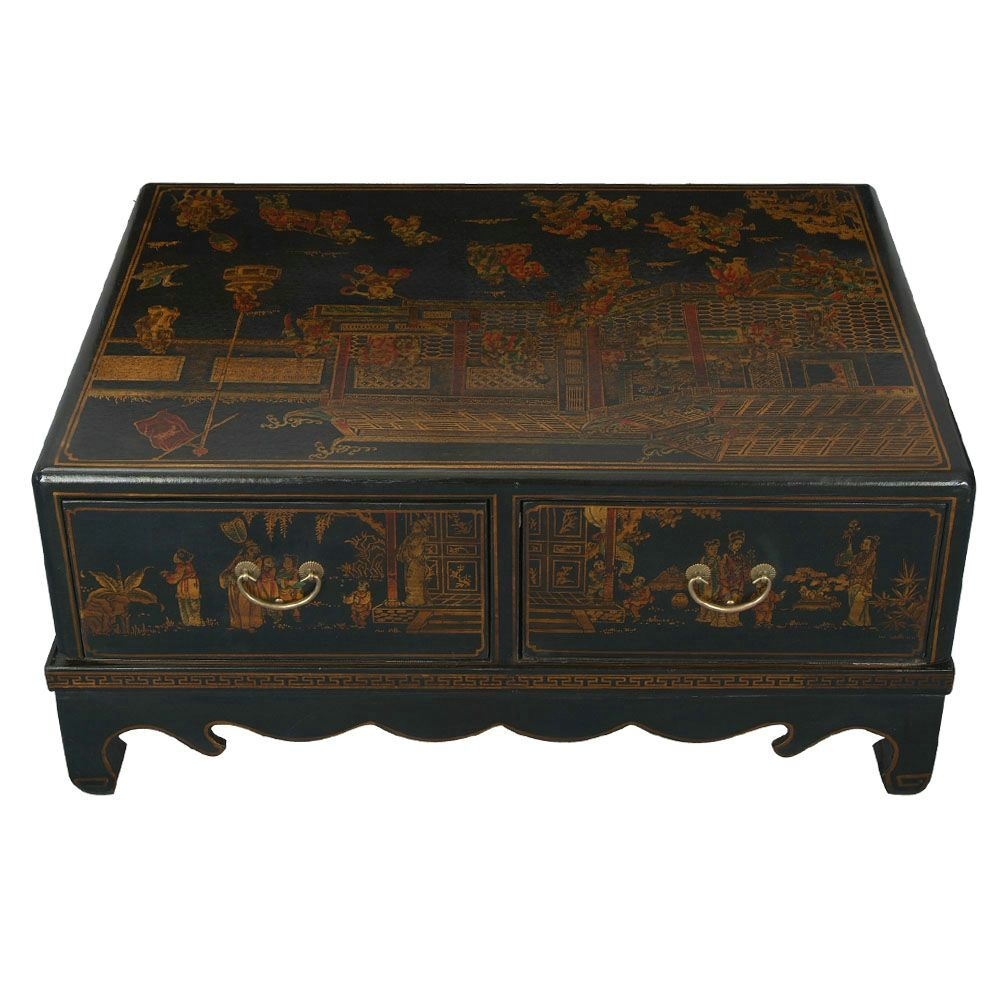 Black leather hand painted oriental coffee table Painted coffee table