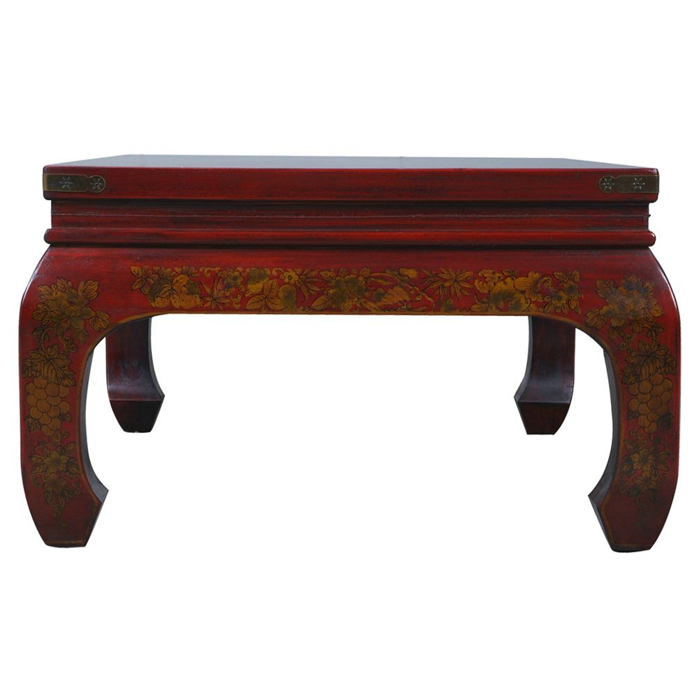 Red Leather Hand Painted Oriental Coffee Table
