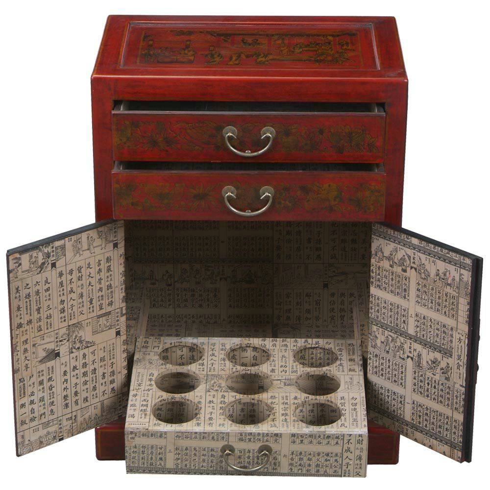 Red Leather Hand-painted Oriental Wine Bar Cabinet